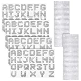 6 Sheets Glitter Rhinestone Alphabet Letter Stickers and Gemstone Border Stickers, 26 Letters Self-Adhesive Stickers Bling Crystal Stickers for DIY Art and Craft