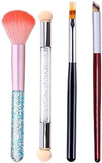 WOKOTO 4Pcs Ombre Nail Art Brush Set Double Head Nail Gradient Shading Pen Nail Brushes For Cleaning UV Gel Builder Kit Ma...