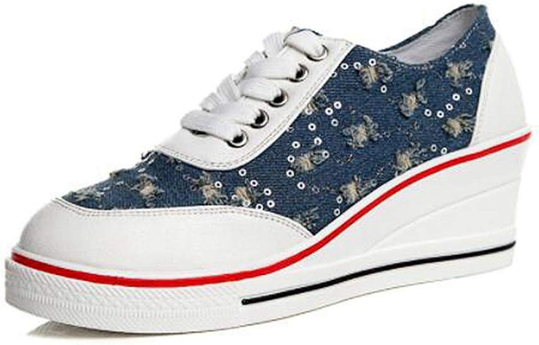 U-MAC Womens Canvas Wedges Sneakers Ladies Breathable Platform Denim Casual Hidden Pull On Outdoor shoes