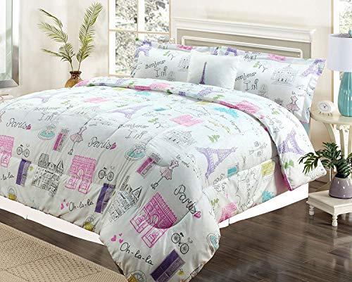 HowPlumb Full 4 Pc Bedding Girls Comforter Bed Set, Paris Eiffel Tower Bonjour Pink Purple