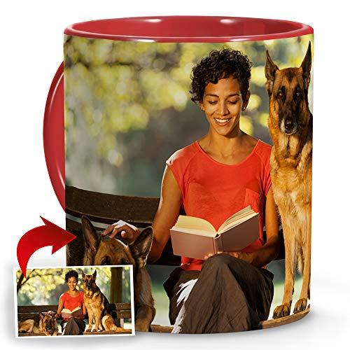 LolaPix Tazas de Desayuno Personalizadas. Regalos Personalizados con Foto. Taza Personalizada de Cerámica. Tazas con Color Interior y Asa Rojo