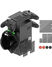 ダストフィルター XboxシリーズX用 コントローラー&ヘッドホンホルダースタンド トップケース 防塵カバーセット ヘッドセットマウントスタンドホルダー2個付き Xbox Series Xコンソール用
