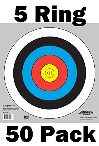 Archery 40cm Targets by Longbow (50 pack, 40cm/approx 16