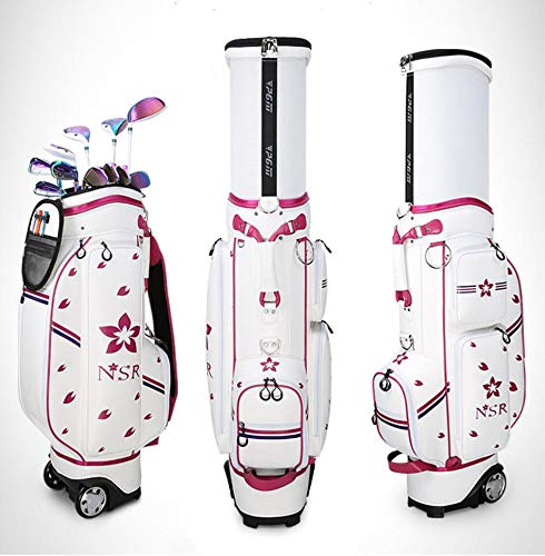 Best Bargain Leaysoo Golf Telescopic Bag Ladies Print Tugboat Waterproof Bag,Whitepink