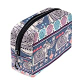 Indian Style Ornament With Elephants And Paisleys Cosmetic Bag Travel Makeup Bag for Women Girls Zippered Pencil Case Pen Pouch Storage Holder Box Stationery for Office School