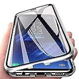 Orgstyle Funda para Samsung Galaxy A71, Absorción Magnética Cubierta Vidrio Frontal y Posterior Case Marco Metal Súper Delgada Protección de 360 Grados Caso para Samsung Galaxy A71, Plata