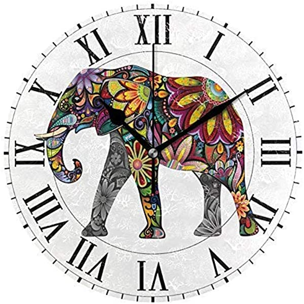 Realfits Colorful African Floral Elephant Round Acrylic Wall Clock Silent Non Ticking Oil Painting Home Office School Decorative Clock Art