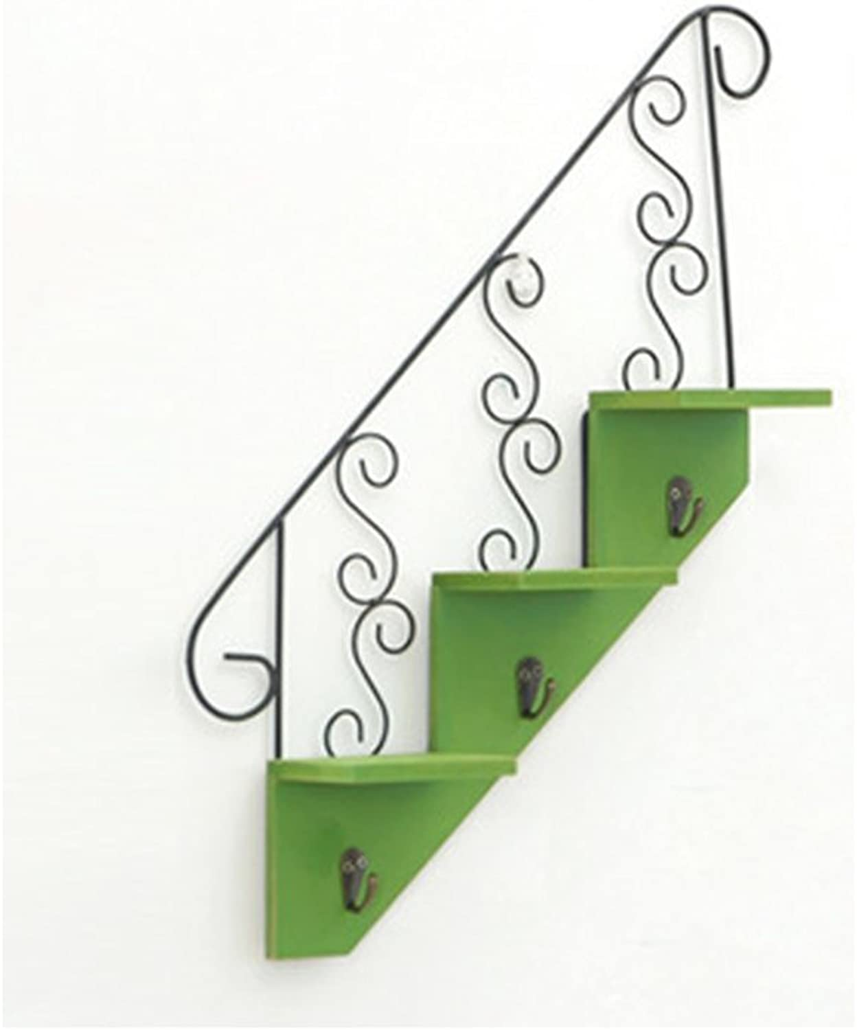 LQQGXL.Storage and Organization Shelves Wood Wall Decorations Racks Fittings Home Decor Clothing Store Walls Creative Staircase 34x45.3cm (color   Green)