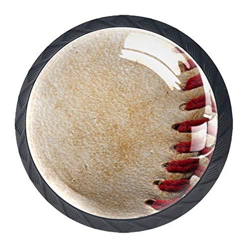 Cuero deportivo de béisbol vintage Perillas de gabinete 4 pcs Round Knobs Knobs Tiradores de puerta de de con tornillos para la cocina de cajón de gabinete
