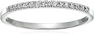 Vir Jewels 1/8 cttw Petite Diamond Wedding Band in 10K White Gold Prong Set