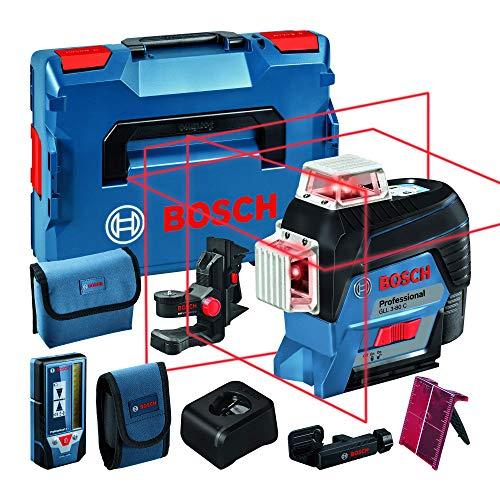 Bosch Professional Sistema 12V Nivel Láser GLL 3-80 C (1 batería 12V + cargador, láser rojo, conexión Bluetooth, alcance hasta 30m, receptor LR7, soporte universal BM1, en L-BOXX)
