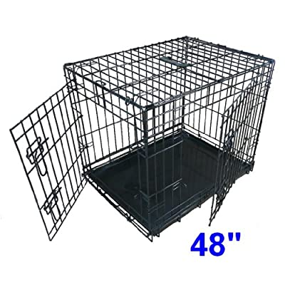 Ellie-Bo Dog Puppy Cage Folding 2 Door Crate with Non-Chew Metal Tray XXL 48-inch
