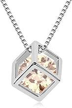 Winter's Secret Austrian Crystal Love Square Silver Plated Zircon Necklace Delicate Fashion Jewelry