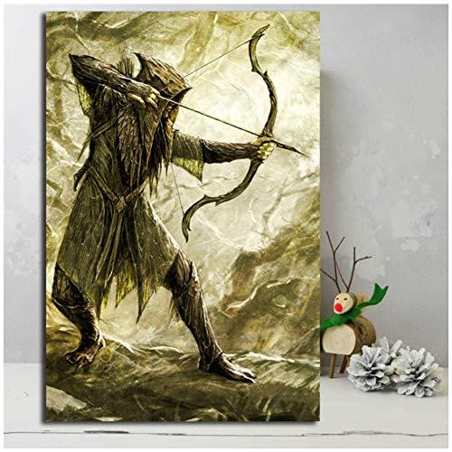 Lord of The Rings Mirkwood Elf LOTR Hobbit Canvas Schilderij Print Woonkamer Huisdecoratie Moderne Muurkunst Olie Schilderij Poster HD -60x90cm Geen Frame