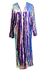Holographic Sequin Rave Long Sequin Duster