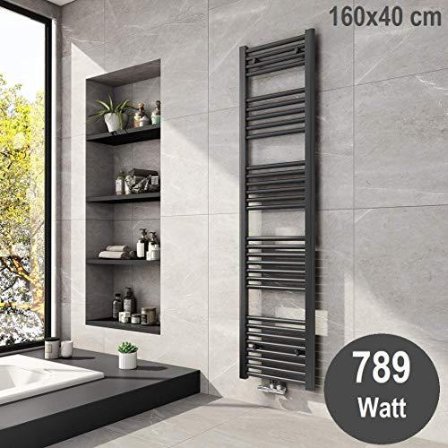 Meykoers Badheizkörper 1600x400mm Handtuchtrockner Anthrazit Mittelanschluss 789 Watt, Handtuchwärmer Heizkörper für Bad Heizung Radiator