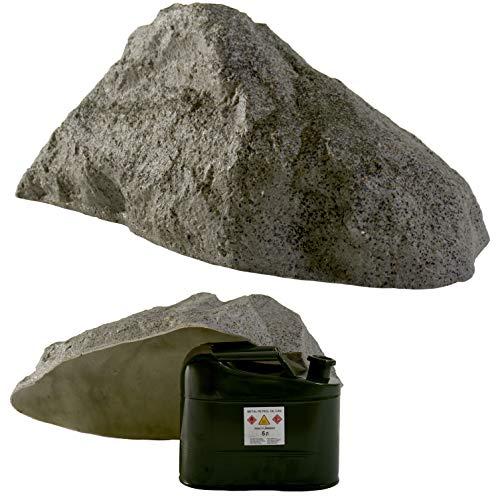GARTENDEK Piedra Grande Decorativa para el Jardín Exterior, Roca Artificial Hueca y Falsa para el Diseño de Patio, Oculta Utilidades, Cubre 38 Centímetros S-01, Gris