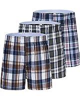 JINSHI Men's Boxer Shorts Underwear Plaid Boxer Trunk Shorts Open Fly Sleepwear (3T601-2,XL)