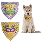 CheeseandU 2Pack Mardi Gras Pet Bandanas Triangle Plaid Eye Mask Pattern Green Purple Yellow Bandanas for Dog Cat Garnaval Adjustable Neckerchief Bandanas for Dogs Cats 7.8-16.5'