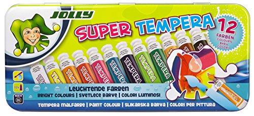 JOLLY Tempera Farben | 12 leuchtende Flüssig-Farben mit Wasser verdünnbar & auswaschbar