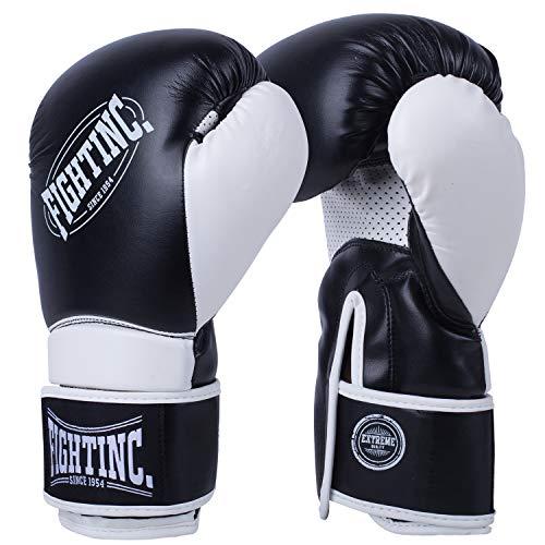Fightinc. Boxhandschuhe Fighter - 8 10 12 14 16 Oz Männer Frauen für Boxen Kickboxen Muay Thai MMA Kampfsport schwarz weiß rot UVM schwarz (001) 10 Oz