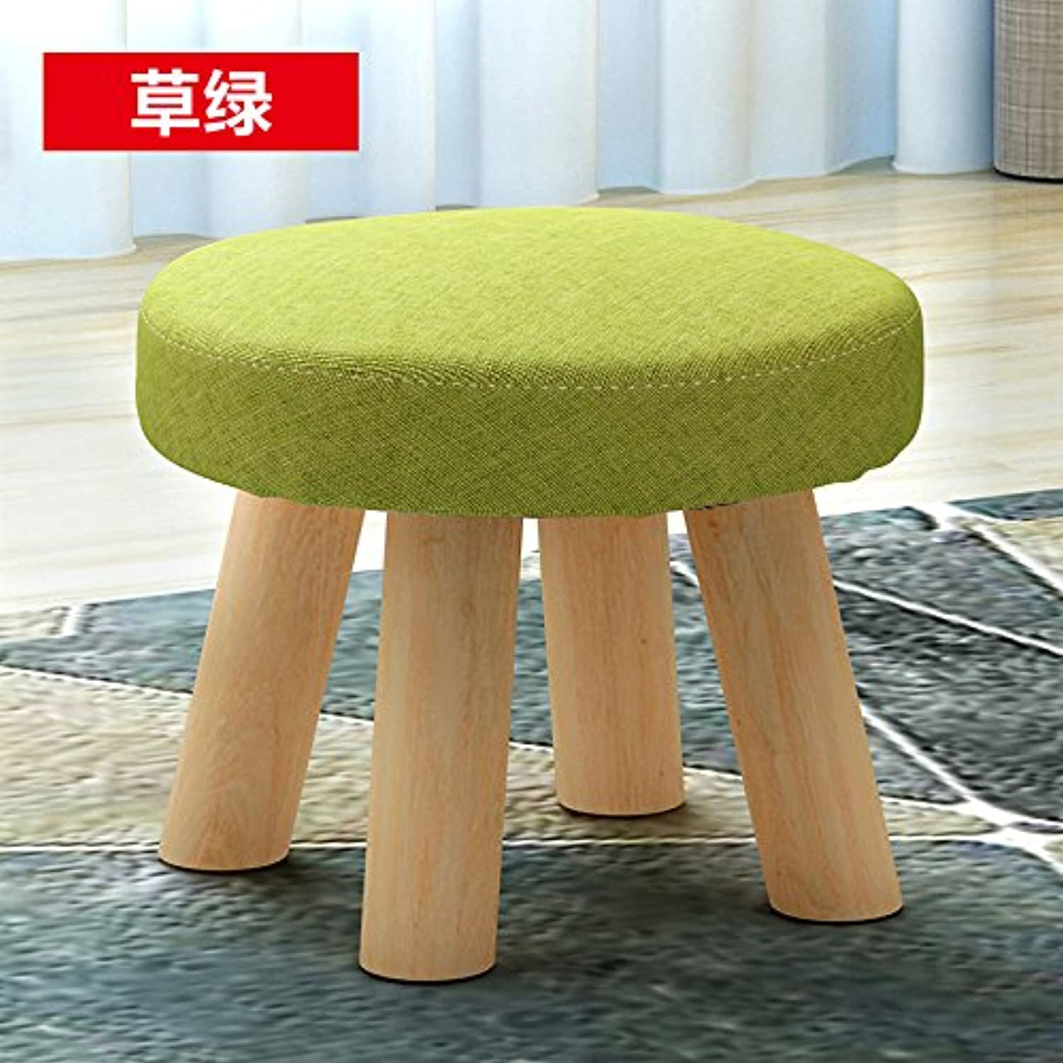 Dana Carrie Small Low Benches, Wooden Fabrics Adult Sofa is a Simple Low stools Home Creative Circle is That Grass Green