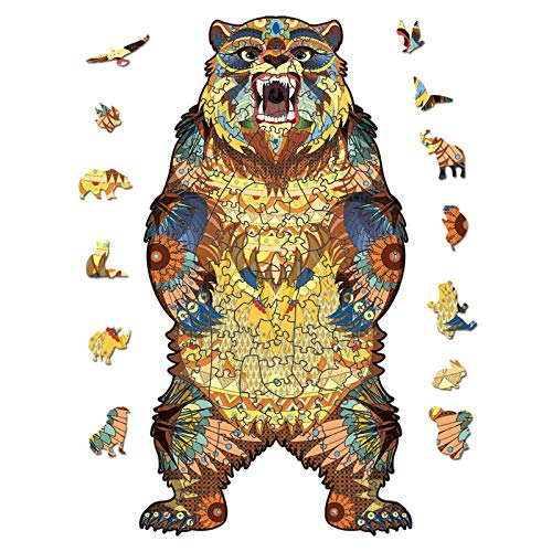 Wooden Jigsaw Bear 3D Puzzle Irregular Animal Shape Jigsaw Puzzles Pieces Suitable for Adults Teenagers Kids Unique Puzzle Perfect Match Imagination Gift Toys