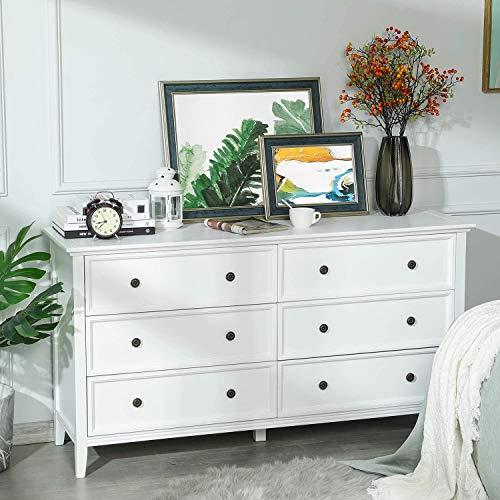 Yuleestyle Kommode mit 6 Schubladen, Kommode aus Massivholz mit großem Stauraum, Organisator für Lagerturmkleidung, für großen Schrank, Schlafzimmer, Wohnzimmer (White)