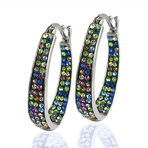 KoelrMsd Pendientes Hebilla de Oreja Colorida Incrustaciones de Diamantes Pendientes Individuales versátiles Adornos De Moda