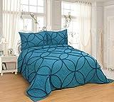 FineHome - Set di 3 copriletto, completamente trapuntato, per letto matrimoniale, king size 106x96inch Pizzo-pavone blu