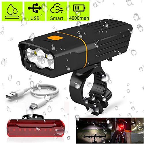 Fietsverlichting, fietsverlichting, oplaadbaar, USB, achterlicht, fietsverlichting, mountainbike-verlichting, 1000 lumen, 3-weg led-zaklamp, waterdicht IPX5.