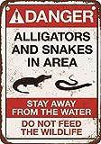 Riongeeo Gefahr Krokodile und Schlangen Metall Schild