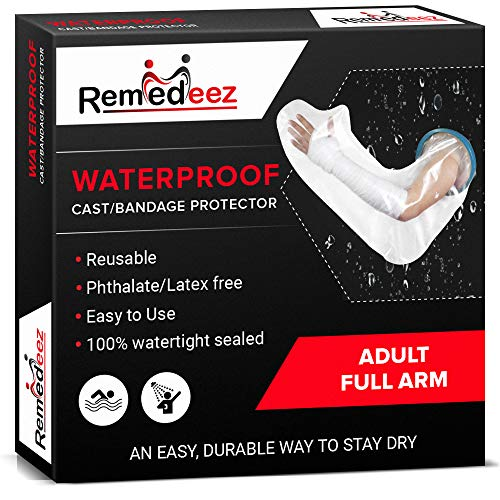 Remedeez Waterproof Cast Cover – Reusable Adult Full Arm Cast Protector for Shower – Leakproof Silicone Rubber Seal Keeps Splints, Picc Lines, Stitches and Wounds Dry and Clean While Bathing