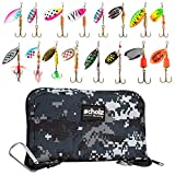 Scholz Quality - Fishing Kit - 16 Spinner Bait Lures and Fishing Tackle Bag with Belt Clip - Bright, Strike Attracting Baits for Freshwater Fish - Metal Spinner Lures for Bass, Trout, Salmon - Blue