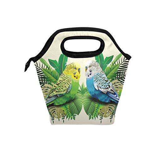 Animal perruches Oiseaux en feuilles Sac à déjeuner isotherme Fourre-tout pour femme Lunch Box Cooler avec fermeture à glissière pour adultes/enfants filles, garçons, hommes