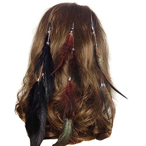 Fodattm - Juego de 3 extensiones de pelo de boho hippie hechas a mano con pinza de pluma, peine para el cabello, accesorios para mujeres y niñas