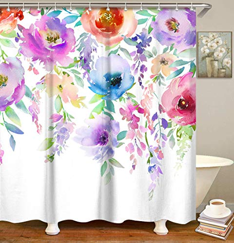 LIVILAN Watercolor Flowers Shower Curtain, Colorful Floral Bathroom Curtain with Hooks 72x72 Inches Machine Washable Fabric Bathroom Decor