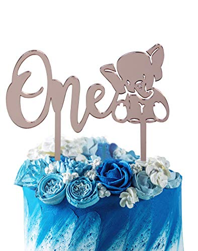 Rose Gold One 1-1st Birthday Party Supplies Smash Cake Decorations GrantParty 1st First Birthday Cake Topper Decoration Elephant for Baby Girls Or Boys Rose Gold 1 Elephant