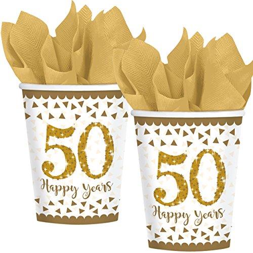 8 Gobelets glitzernde * 50 – Happy Years * en or Sparkling Gobelet en carton pour 50e anniversaire, mariage ou anniversaire d'or//Party Set de gobelets