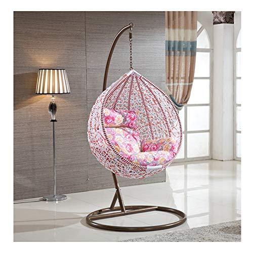 LEJZH Rattan Hanging Swing Chair, Geflecht Egg Patio Gartenstuhl, mit Kissen, 200kg Kapazität Gartenmöbel,Rosa