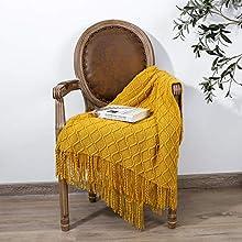 Adory Sweety - Manta de punto decorativa, diseño con motivos geométricos para sofá, manta de punto y flecos colgantes, alfombra de moda nórdica, cálida y bonita, regalo (amarillo, 130 x 170 cm)