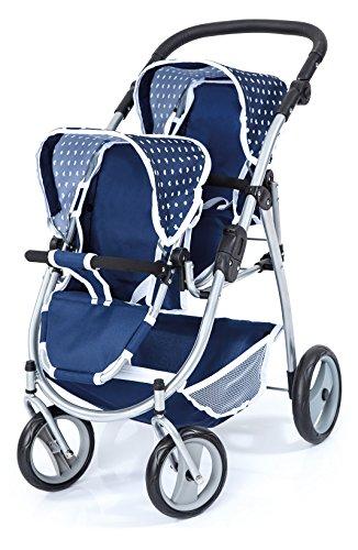 Bayer Design Design-26551 26551AA Cochecito de Gemelos, Carrito Doble para muñecas, Ajustable, Ruedas Delanteras giratorias, Azul, Color