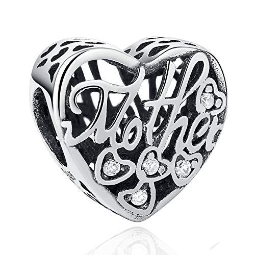 LISHOU DIY 925 Plata Esterlina Madre Corazón Abalorios Cuentas Joyería De Moda para Mujer Adecuado para Pandora Pulsera Brazalete Regalo