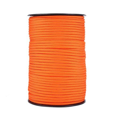 Dilwe Cavo per Paracadute, 550 Colori Riflettenti Multipli 9 Strand Core 100m Corde di Paracord per la Sopravvivenza in Campeggio(Arancione)