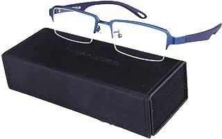 Men Rectangle Pure Titanium Eyeglasses with TR90 Unbreakable Temple Semi Rimless Business Optical Glasses Frame