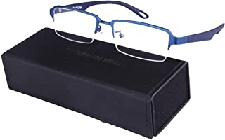 Men Rectangle Pure Titanium Eyeglasses with TR90 Unbreakable Temple Semi Rimless Business Optical Glasses Frame