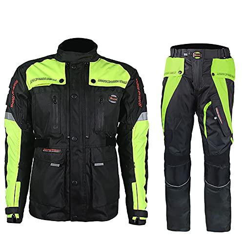 ZDSKSH Chaqueta De Moto A Prueba De Viento con Pantalones 2 Partes Motocicleta Armadura De Equipo De Protección Otoño Invierno Verano para Hombre De Toda Estaciòn
