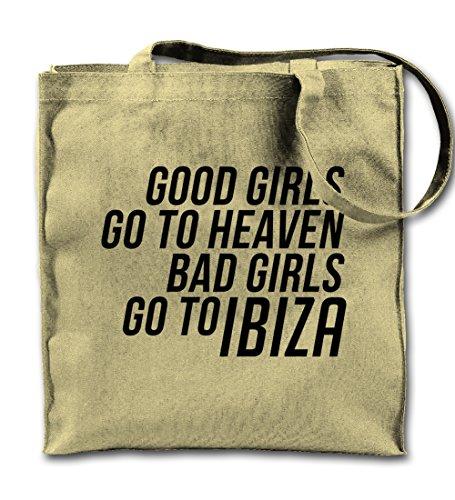 Teequote Good Girls Go To Heaven Bad To Ibiza Dance Party Natürliche Leinwand Tote Tragetasche, Tuch Einkaufen Umhängetasche