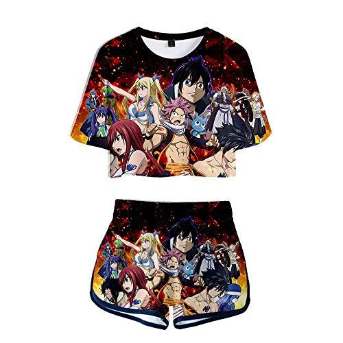 Damen Mädchen Anime Fairy Tail Cosplay Shorts Und T-Shirts Tee Top Sets Kurzarm Shirts XXXL