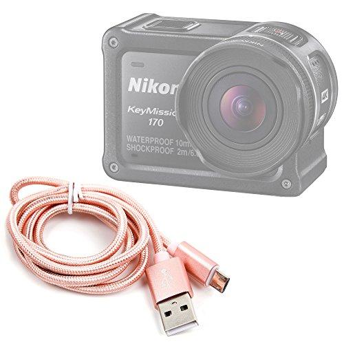 DURAGADGET Cavo di Carica/Sincronizzazione per Action Camera Nikon KeyMission 170 | KeyMission 360 | KeyMission 80 - ccbetter CS720 - Ele Cam Explorer - Connessione USB - MicroUSB - Colore Rosa Gold